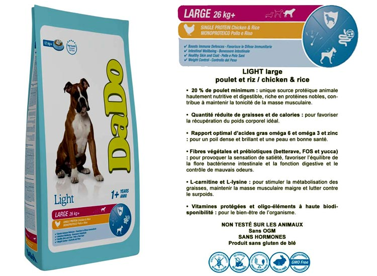 CROQUETTES DADO LARGE ADULT LIGHT POULET ET RIZ (12 Kg)