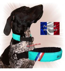 Collier chien personnalisable sur mesure vert d'eau